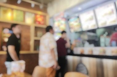 Fast Food, Customers, Cashier, Counter, Restaurant, Blurry