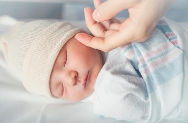Newborn, Baby, Bed, Sleeping, Hospital, Mother's Hands