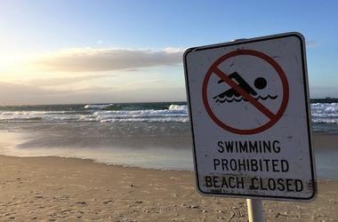 Ocean, Lake, Beach, Water, Closed, Warning, Sign, Beach Closed, No Swimming