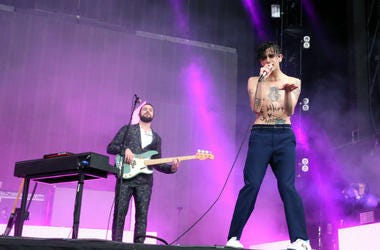 Matthew Healy from The 1975 performs on the main stage at the TRNSMT music festival at Glasgow Green in Glasgow