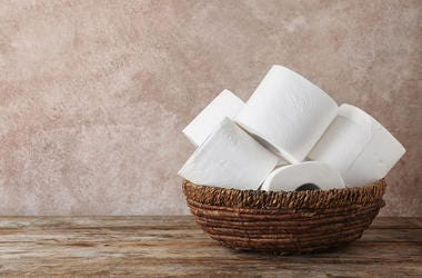 Toilet Paper, Rolls, Wooden Bowl, Bathroom, Table