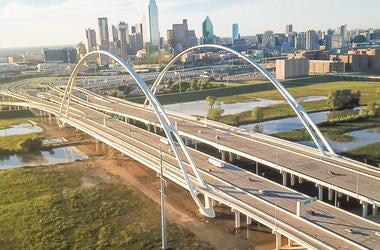 Dallas, DFW, Skyline, Dusk, Margaret McDermott Bridge