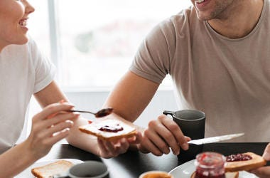 Couple, Eating, Breakfast
