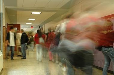 School, Hallway, Students, Blurry