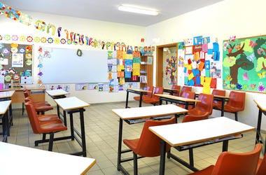 Elemntary School, Classroom, Empty, Desks