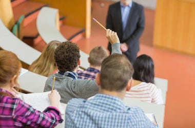 College, Class, Students, Hand Raised, Professor, Lecture Hall