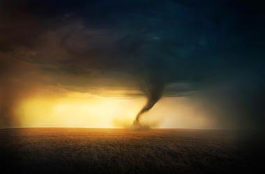 Tornado, Field, Sunset, Beautiful