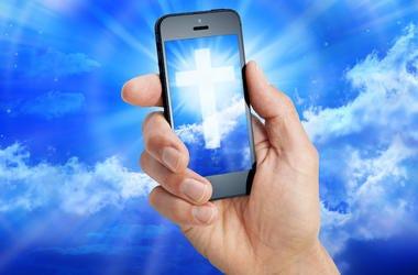 Cell Phone, Cross, Christian, Sky