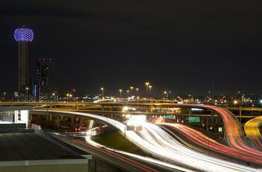 Downtown, Dallas, Night, Traffic