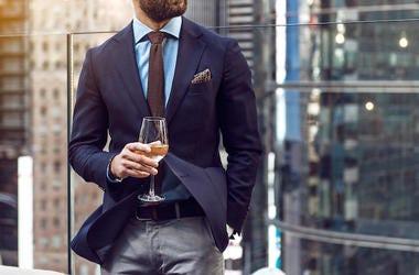 Rich, Wealthy, Man, Wine, Fancy Suit, Downtown, Balcony