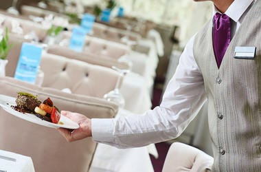 Restaurant, Waiter, Serving, Food, Plate