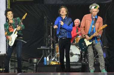Ronnie Wood, Mick Jagger, Charlie Watts and Keith Richards of The Rolling Stones perform on stage