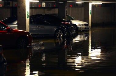 Parking Garage, Cars, Flooded, Water, Dark
