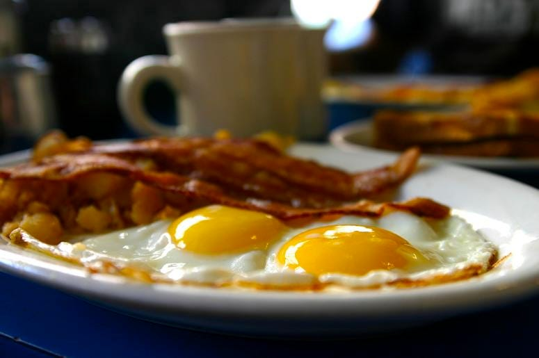 Eggs and bacon on a plate