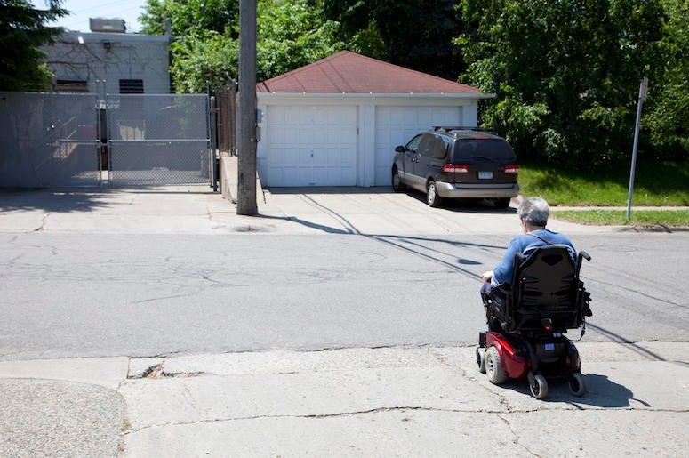 Elderly, Senior, Person, Wheelchair, Mobility Scooter, Neighborhood