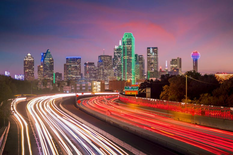 Downtown Dallas, Skyline, Twilight, Sunset, Blurry Traffic
