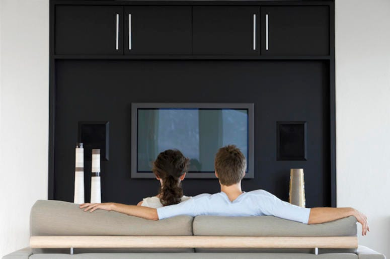 Couple, Man, Woman, Living Room, Couch, Watching TV