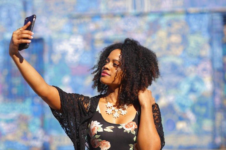 Beautiful Woman, Selfie, Colorful Background