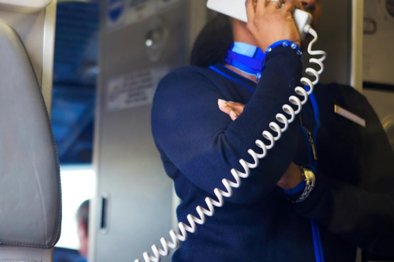 Flight Attendant, Airplane, Phone, Safety Instructions