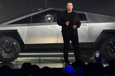 Tesla CEO Elon Musk unveils the Cybertruck. The cracked window glass occurred during a demonstration on the strength of the glass.