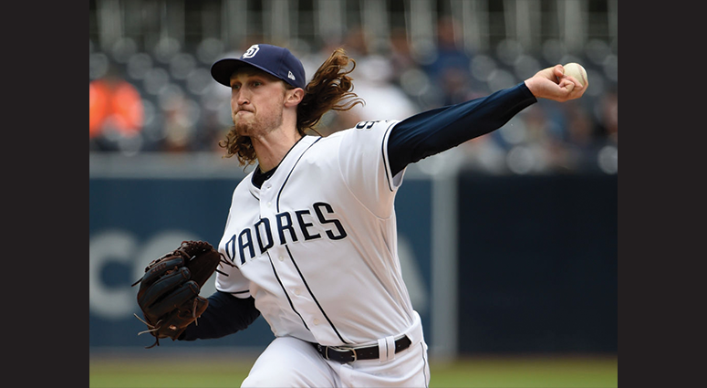 Matt Strahm #55 of the San Diego Padres pitches during the first inning of a baseball game against the New York Mets at Petco Park May 8, 2019 in San Diego, California. (Photo by Denis Poroy/Getty Images)