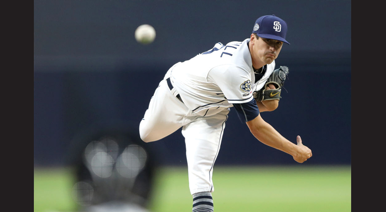 Cal Quantrill #40 of the San Diego Padres pitches during the first inning of a game against the New York Metsat PETCO Park on May 07, 2019 in San Diego, California. (Photo by Sean M. Haffey/Getty Images)