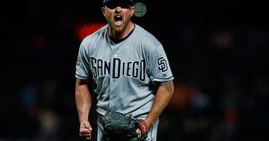 APRIL 08: Kirby Yates #39 of the San Diego Padres celebrates after the game against the San Francisco Giants at Oracle Park on April 8, 2019 in San Francisco, California. The San Diego Padres defeated the San Francisco Giants 6-5. (Photo by Jason O. Wats