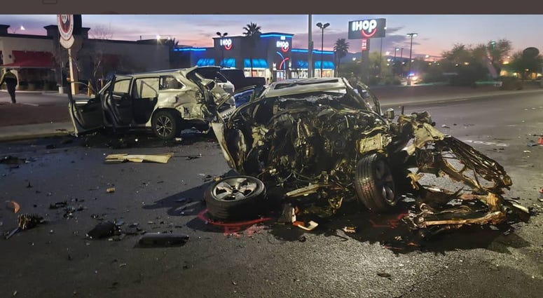 Shot of fatal collision scene at LV Blvd and Warm Springs from 1-22-20