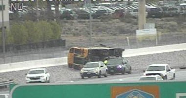 Screenshot of overturned school bus on 3-10-20