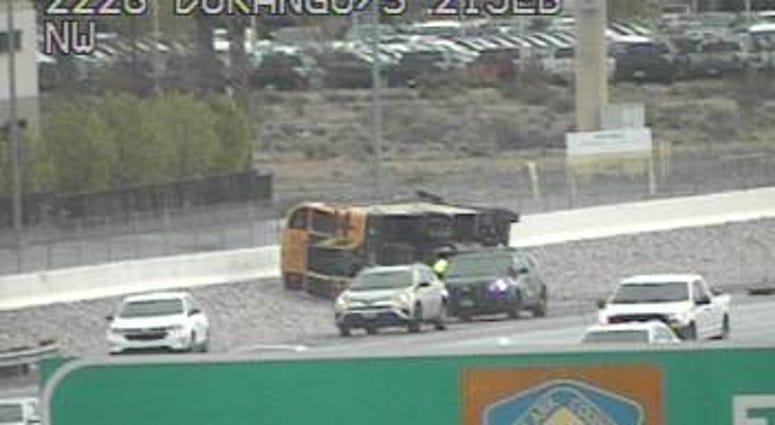 Screenshot of overturned school bus on 3-10-20