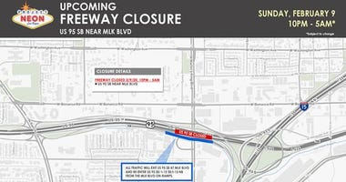 N-Dot map of freeway closure for 2-9-20