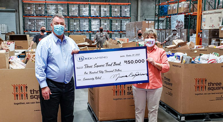 Boyd Gaming makes large contribution to 3 Square Food Bank on 10-22-20