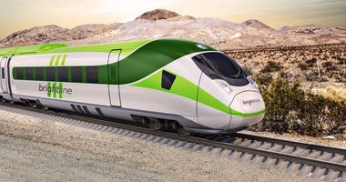 Artist rendering of a high speed train from Vegas to Victorville