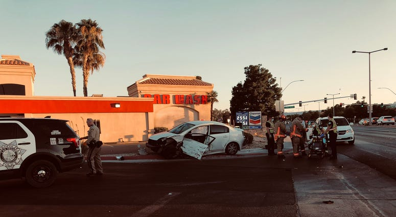 Scene of DUI crash at Lake Mead/Rampart on 7-12-20