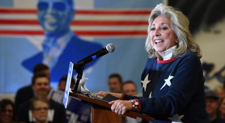 Nevada Congresswoman Dina Titus speaks at a rally for Joe Biden in 2020