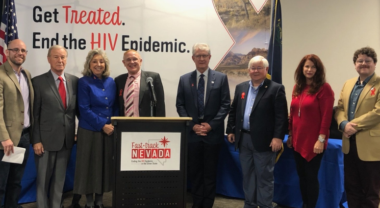Gathering of Southern Nevada Elected Officials Signing The Paris Declaration, With The Goal Of Ending HIV By 2030
