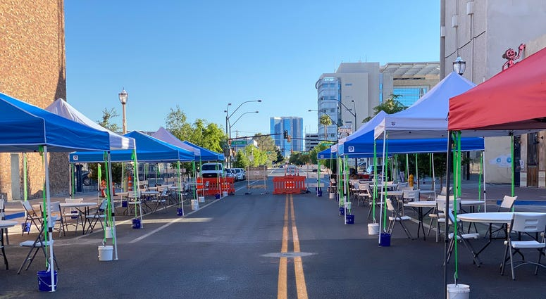 Tables set for diners in Downtown Las Vegas