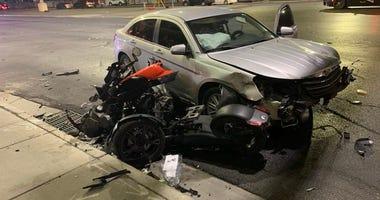 Scene of fatal car-trike crash on Sahara and I-15 on 9-9-20