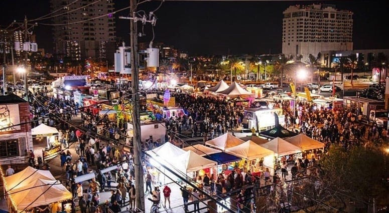Overhead view of the First Friday party in downtown Las Vegas