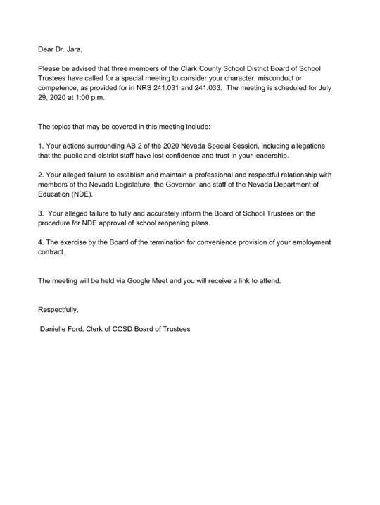 Letter sent to Superintendent Jesus Jara by CCSD Board Of Trustees on 7-22-20