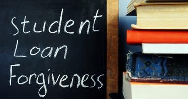Student loan forgiveness handwritten on a blackboard.