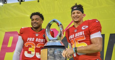 Jamal Adams #33 of the New York Jets and Patrick Mahomes #15 of the Kansas City Chiefs are names Co-MVP's after the 2019 NFL Pro Bowl at Camping World Stadium on January 27, 2019 in Orlando, Florida.