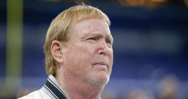 Oakland Raiders owner Mark Davis is seen before the game against the Indianapolis Colts at Lucas Oil Stadium on September 29, 2019 in Indianapolis, Indiana.