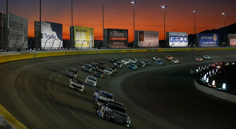 Christian Eckes, driver of the #51 SiriusXM Toyota, leads during the NASCAR Gander Outdoor Truck Series World of Westgate Las Vegas 200 at Las Vegas Motor Speedway on September 13, 2019
