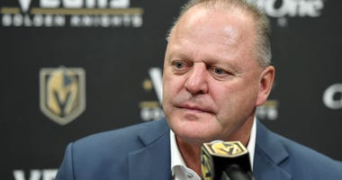 Head coach Gerard Gallant of the Vegas Golden Knights takes questions during a news conference following the team's 5-2 victory over the Anaheim Ducks at T-Mobile Arena on October 27, 2019