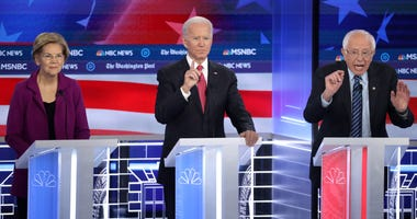 Elizabeth Warren, Joe Biden, Bernie Sanders at a Democratic Debate