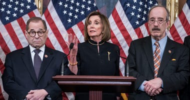 Speaker of the House Nancy Pelosi (D-CA) delivers remarks alongside Chairman Jerry Nadler, House Committee on the Judiciary (D-NY) and Chairman Eliot Engel, House Foreign Affairs Committee (D-NY), following the House of Representatives vote to impeach.