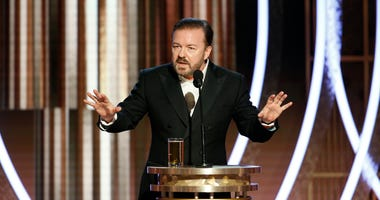 In this handout photo provided by NBCUniversal Media, LLC, host Ricky Gervais speaks onstage during the 77th Annual Golden Globe Awards at The Beverly Hilton Hotel on January 5, 2020