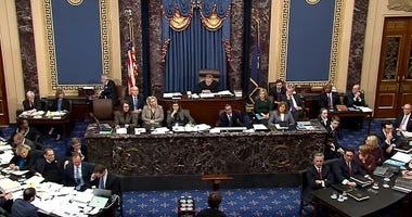 In this screenshot taken from a Senate Television webcast, Chief Justice John Roberts admonishes the House managers and the President's lawyers for using language inappropriate for the Senate during impeachment proceedings against U.S. President Trump