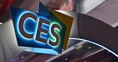 VThe CES logo is displayed during CES 2020 at the Las Vegas Convention Center on January 7, 2020 in Las Vegas, Nevada.